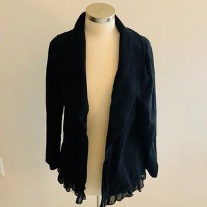 Style & Co Black Cardigan with Ruffle Hem